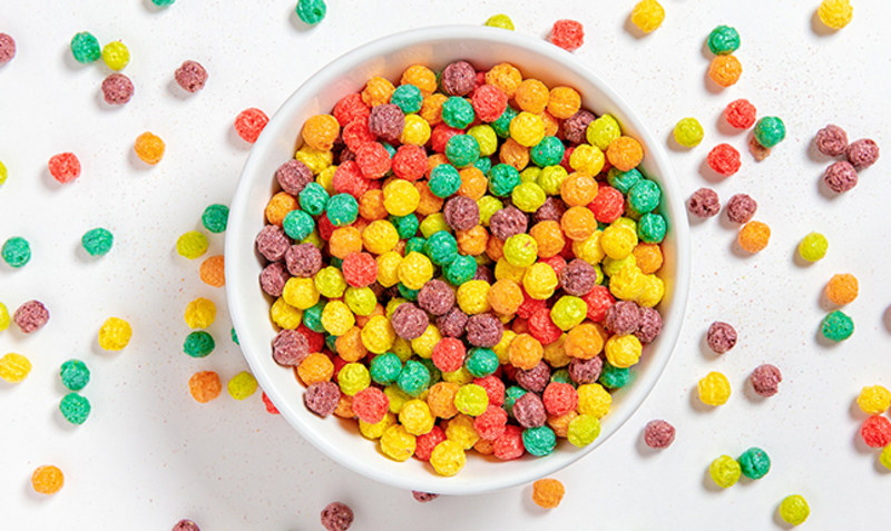 Top view of colorful popped breakfast cereals