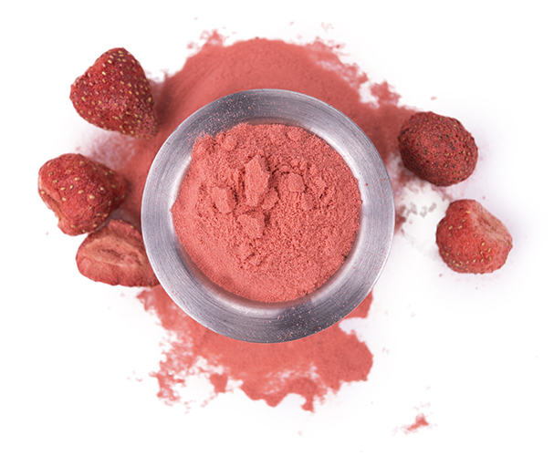 Top view of strawberry powder ingredient