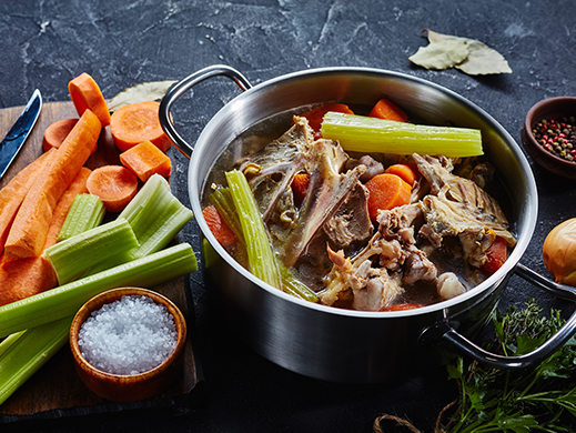 preparation of a mirepoix with celery, carrot and meat