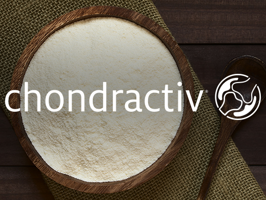 Top view of Chondractiv powder in wooden bowl