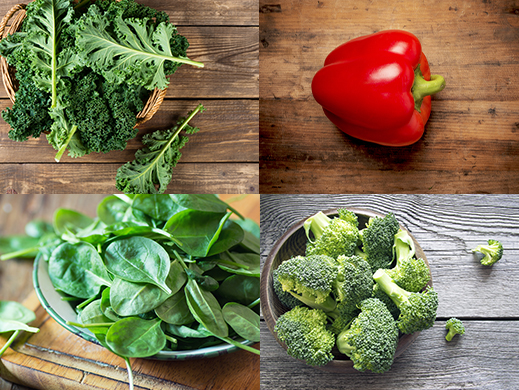 Kale, red bell pepper, broccoli and spinach patchwork pictures